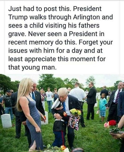 trump hugs boy visiting his father's grave