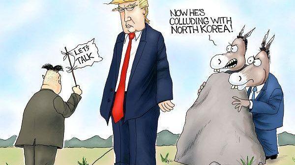 trump kim jong un political cartoon