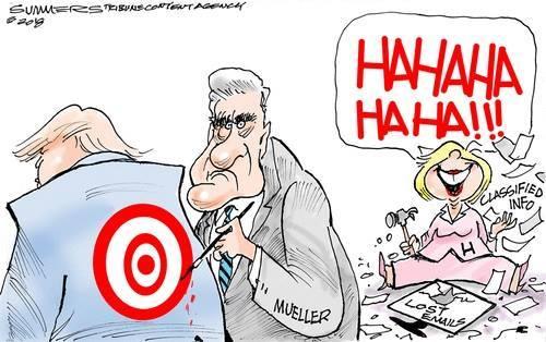 hillary clinton robert mueller donald trump target political cartoon
