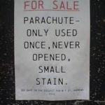 funny sign parachute for sale never opened small stain