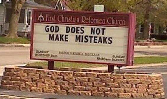 funny church sign god does not make misteaks