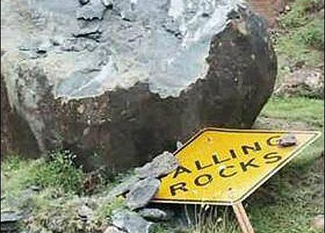 funny sign falling rocks
