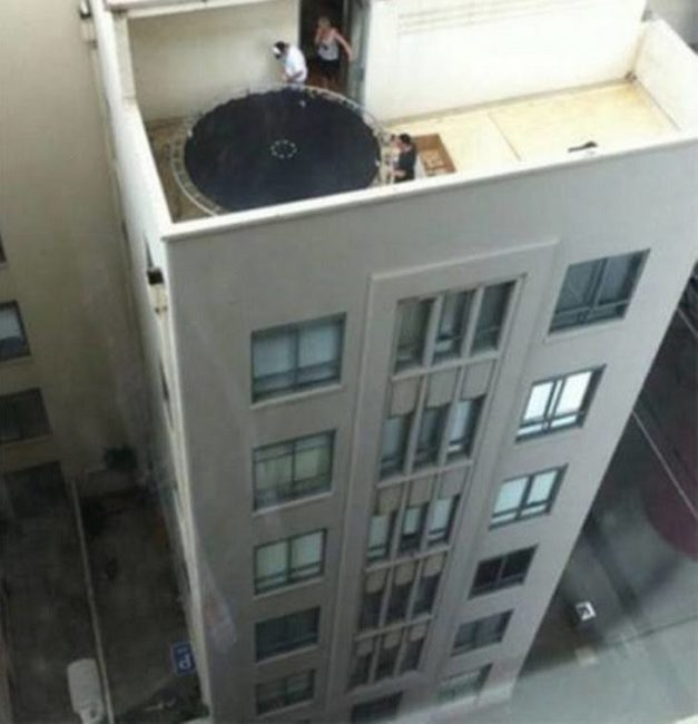 trampoline on high balcony