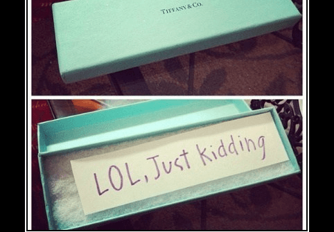 tiffany box lol just kidding funny pic