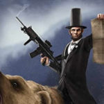 abraham lincoln riding a bear t-shirt