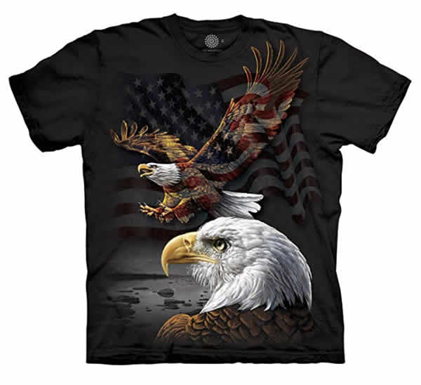 patriotic t-shirt two bald eagles american flag