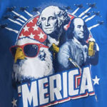 funny america t-shirt bald eagle ben franklin george washington