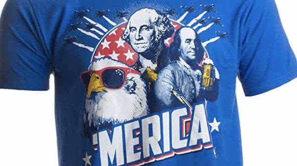 funny america t-shirt bald eagle ben franklin george washington