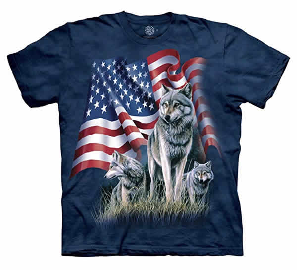 wolf american flag t-shirt