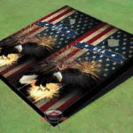 american flag bald eagle cornhole game