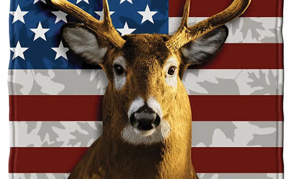 american flag white tail deer blanket