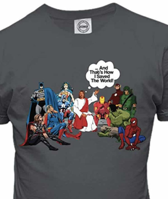 funny christian t-shirt superhero jesus and that's how I saved the world