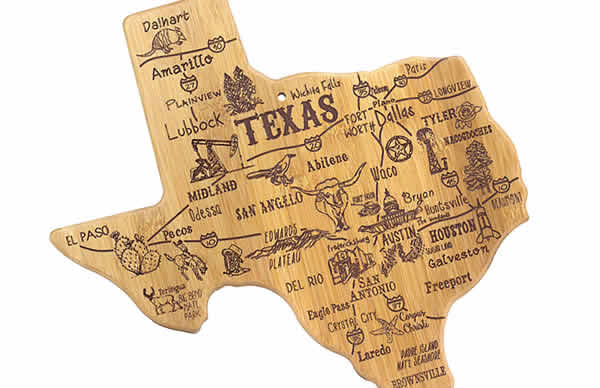 texas bamboo cutting board unique gift
