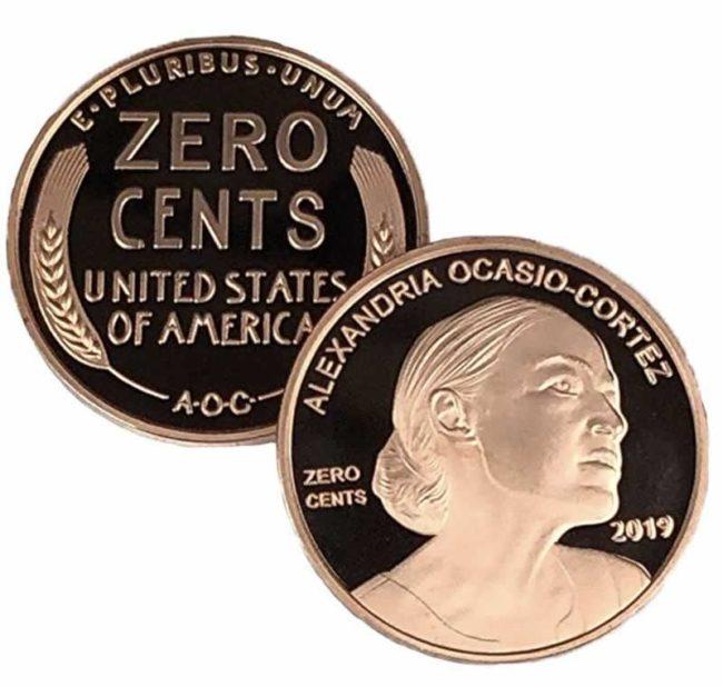 zero cents coin zero cents penny aoc alexandria ocasio cortez funny gift collectible coin