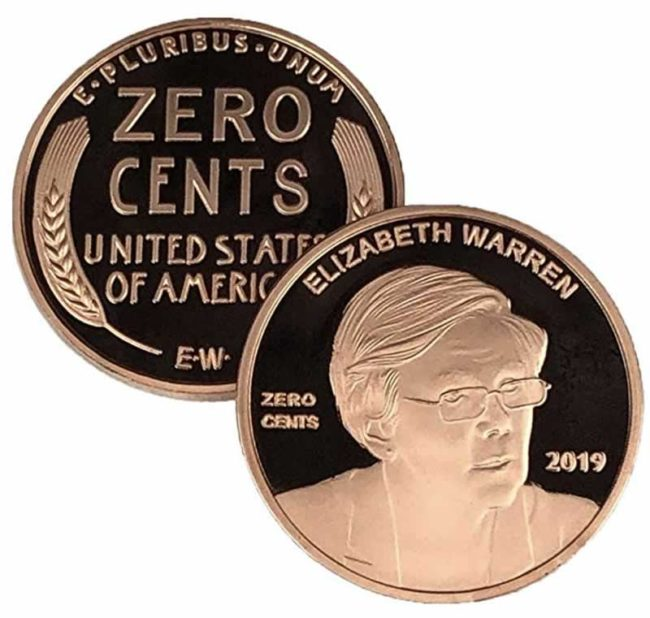 zero cents coin zero cents penny elizabeth warren funny gift collectible coin