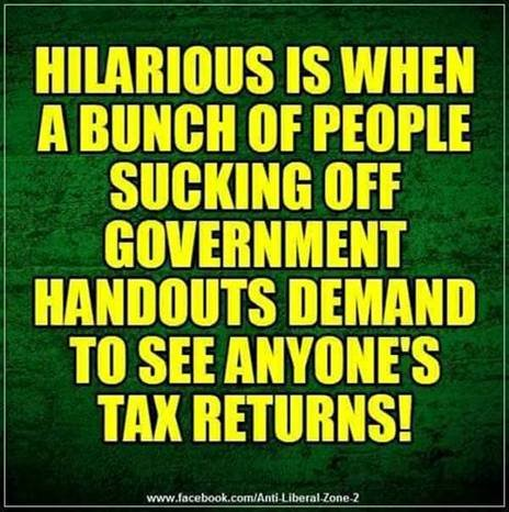 people sucking off government handouts demand to see anyone's tax returns