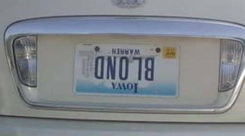 blond upside down license plate
