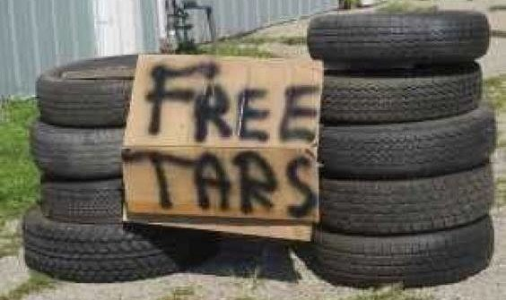 funny sign free tires free tars