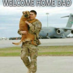 welcome home dad dog meets soldier returning home