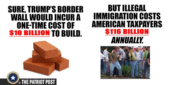 border wall $10 billion illegal immigrants cost $116 billion