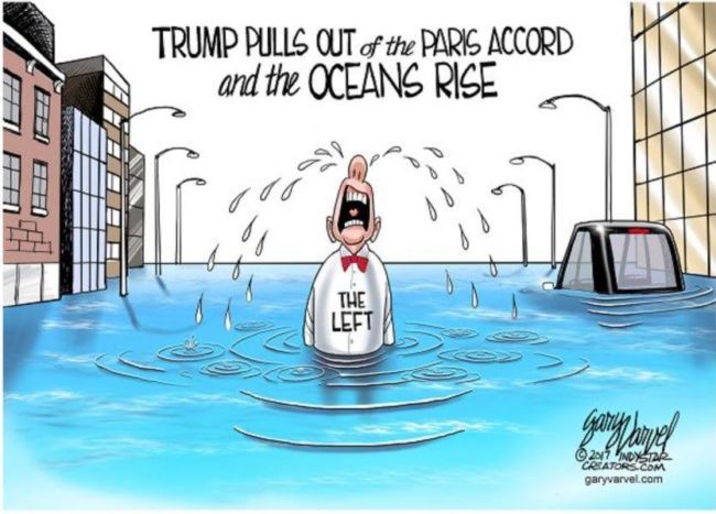 trump pulls out of paris accord political cartoon funny
