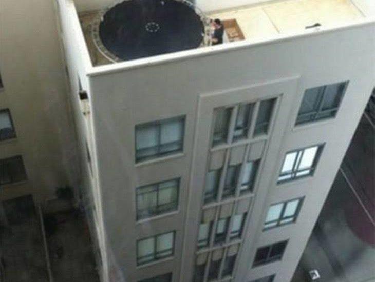 trampoline on high balcony