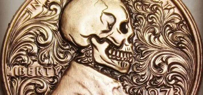 carving skull into penny