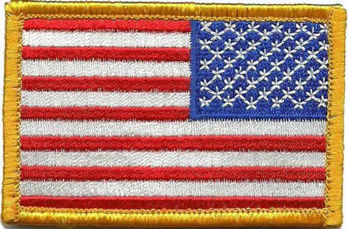 backwards american flag patch