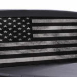 american flag black and white window decal