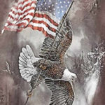 bald eagle american flag winter t-shirt