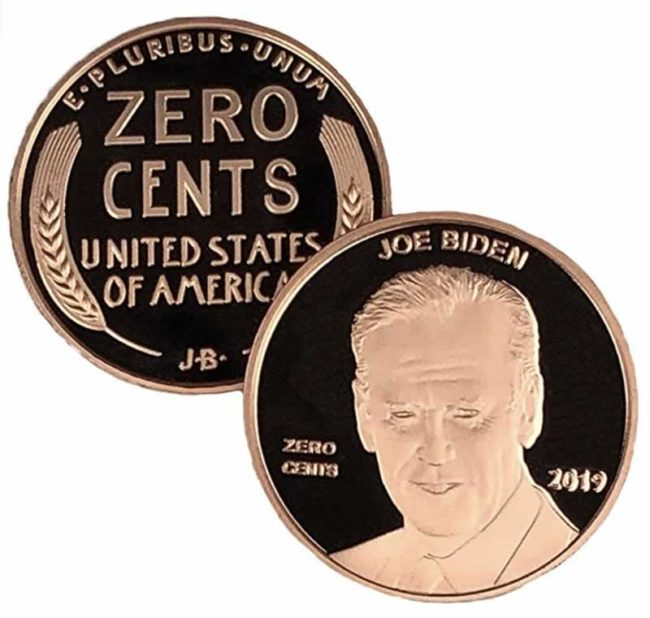 zero cents coin zero cents penny joe biden funny gift collectible coin